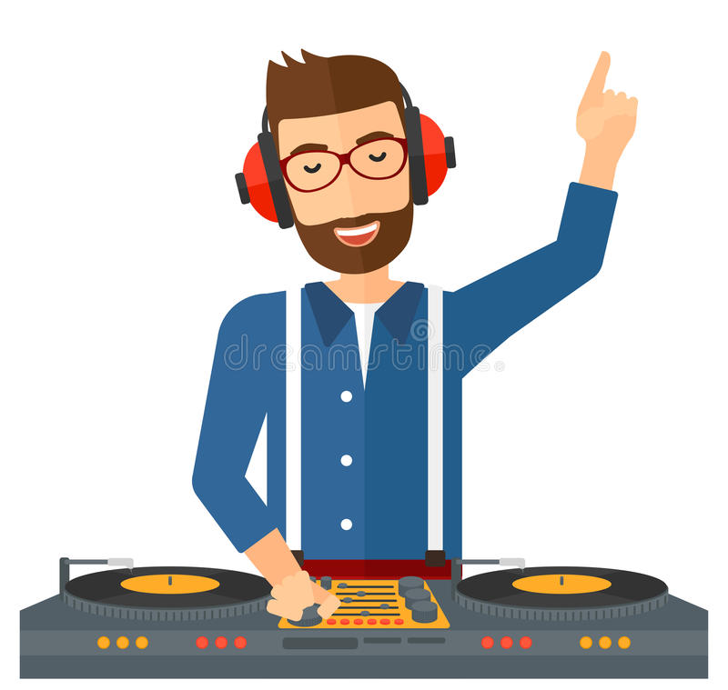 有控制台的微笑的DJ 库存例证