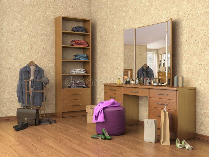有控制台镜子、箱子和鞋子的,架子室, 皇族释放例证