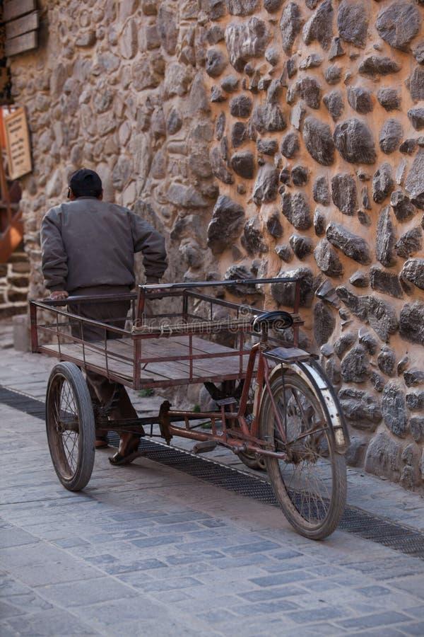 有推车的秘鲁人 库存图片