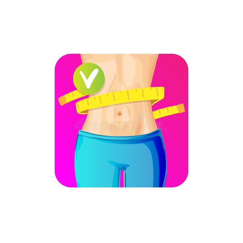 有措施磁带的妇女亭亭玉立的腰部在-减肥概念象,明亮的颜色附近 与厘米磁带的亭亭玉立的身体 向量例证