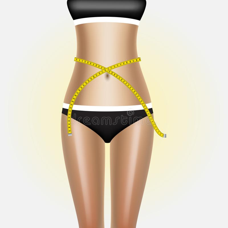 有措施磁带的妇女身体 夫人测量她的有一把卷尺的腰部在厘米和毫米 皇族释放例证