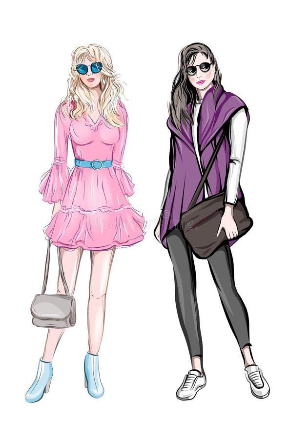 有提包的手拉的美丽的少女 太阳镜的时髦的逗人喜爱的女孩 草图 方式例证 方式二妇女 库存照片