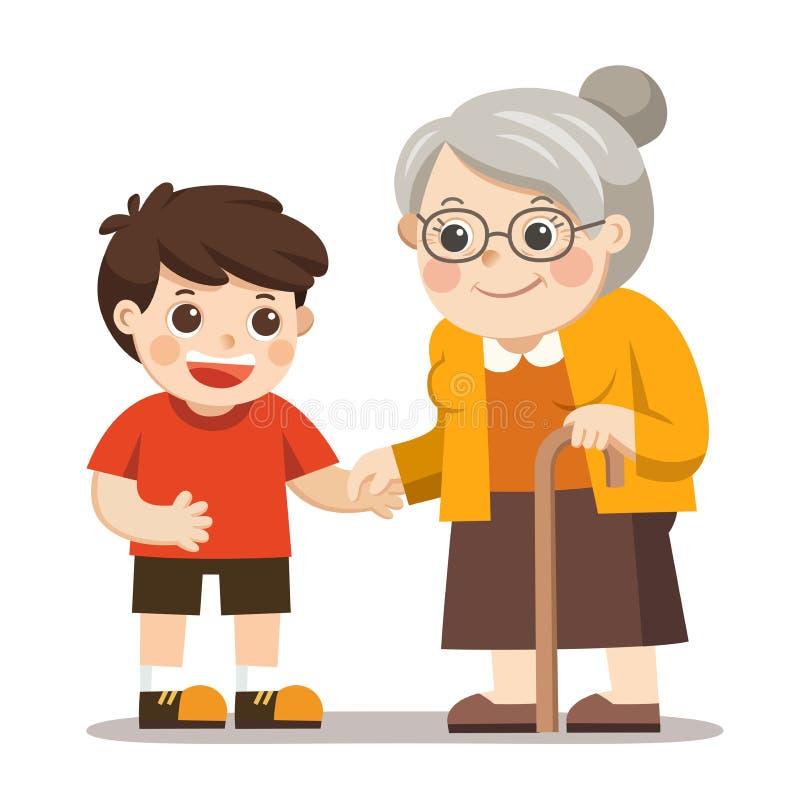 有握小男孩的手的步行者的愉快的老妇人 库存例证