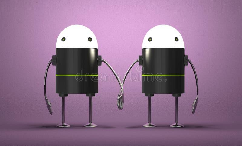 有握手的发光的头的机器人 向量例证