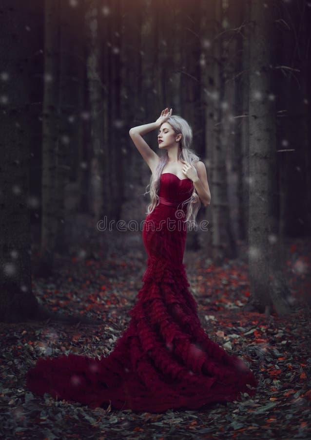 有摆在有站立在秋天杉木森林里的一列长的火车的一件豪华红色礼服的长的白发的美丽的妇女 库存图片