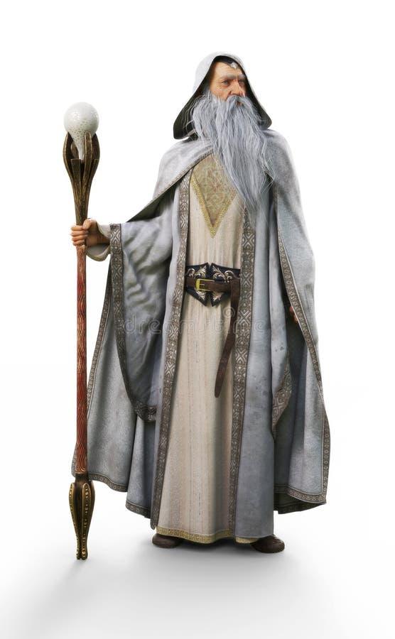 有摆在被隔绝的白色背景的职员的一位白巫术师 库存例证