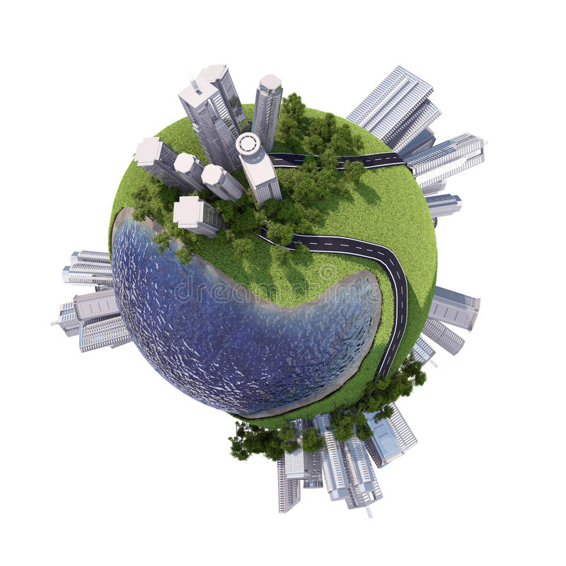 有摩天大楼的企业城市地球上 库存图片