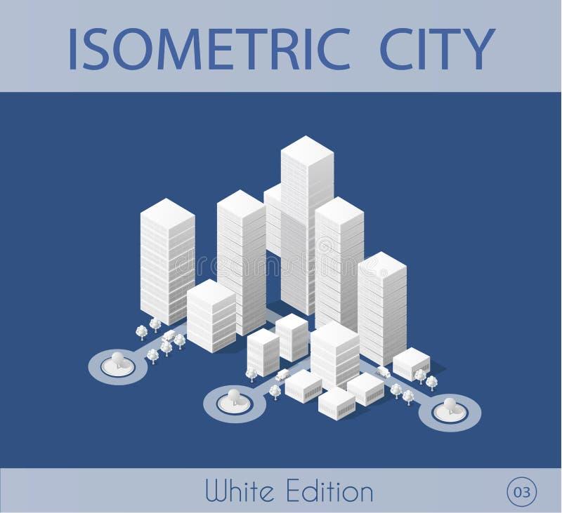 有摩天大楼的等量城市 向量例证