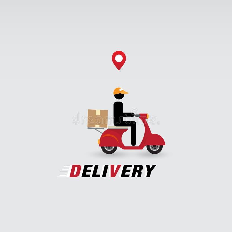 有摩托车的送货人 库存例证