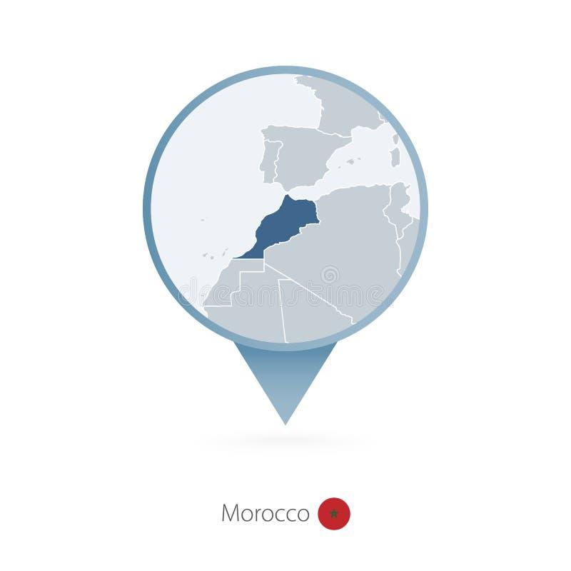 有摩洛哥和邻国详细的地图的地图别针  向量例证