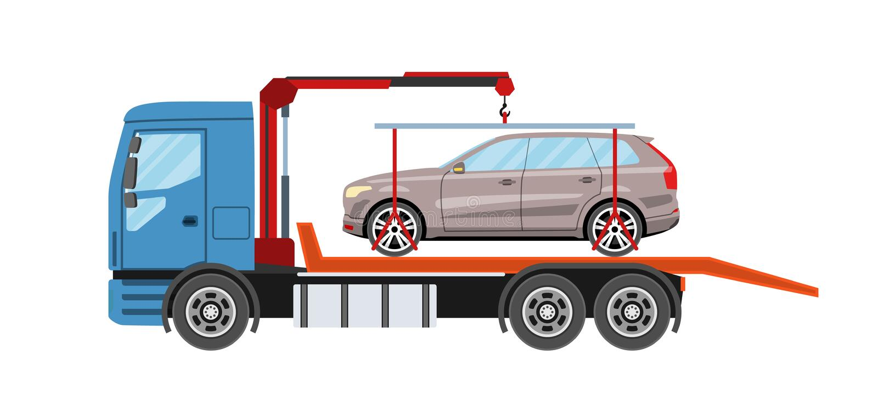 有撤出的汽车的救援车 拖车撤离服务 皇族释放例证