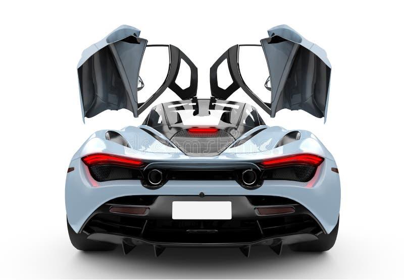 有操作门的蓝色现代跑车 向量例证