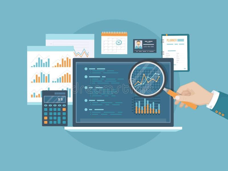 有放大器的一只人` s手在有图表和图的屏幕上 会计,分析,审计,财政报告的概念 皇族释放例证