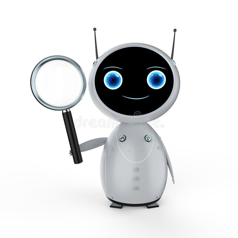 有放大镜的机器人 皇族释放例证