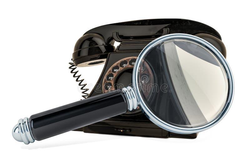 有放大镜的电话 3d翻译 皇族释放例证