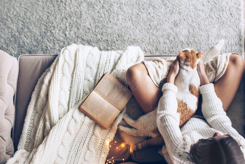 有放松在长沙发的猫的女孩 免版税图库摄影