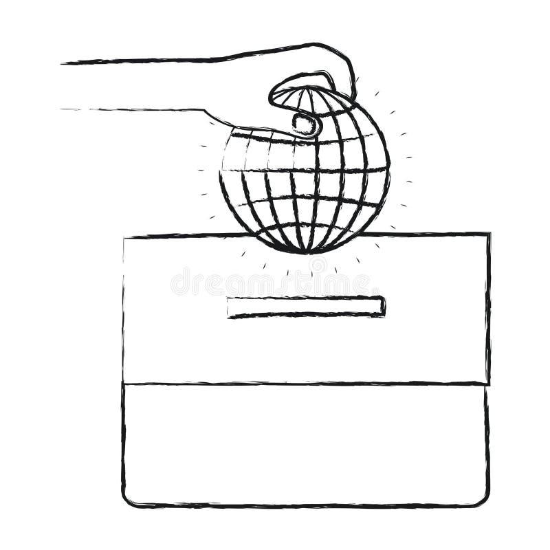 有放置在纸盒箱子的平的地球地球世界图的被弄脏的剪影正面图手 库存例证