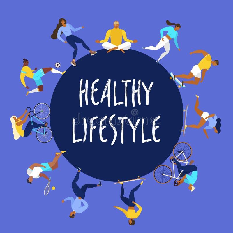 有效的人年轻人 健康生活方式 溜冰鞋,赛跑,自行车,奔跑,步行,瑜伽设计元素五颜六色的传染媒介 皇族释放例证