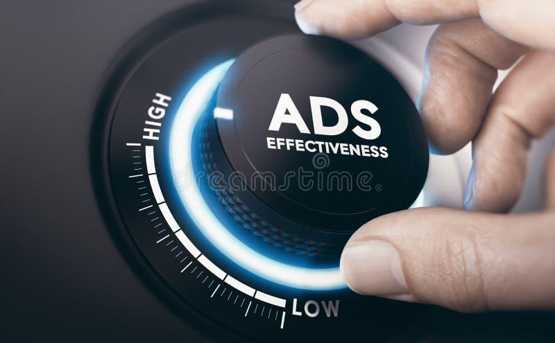 有效的广告活动 广告效率 库存图片