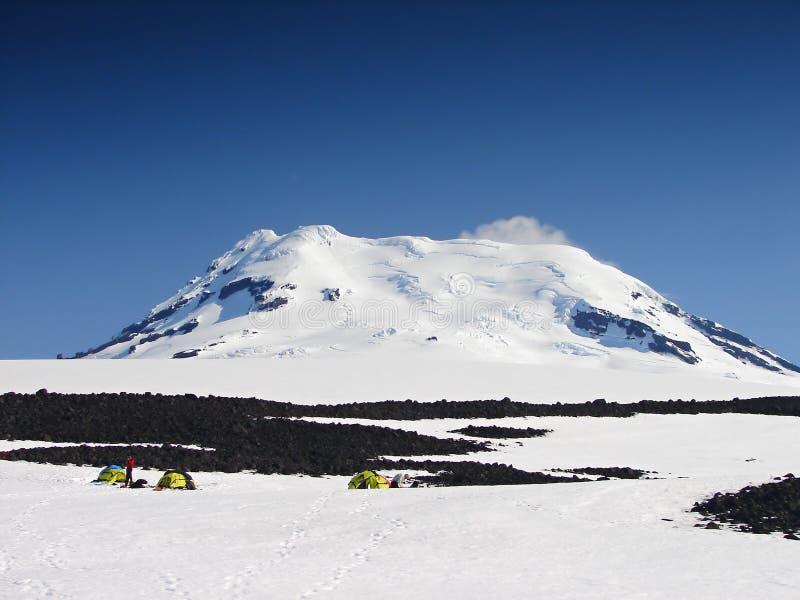 有效的beerenberg最北的s火山世界 免版税库存图片