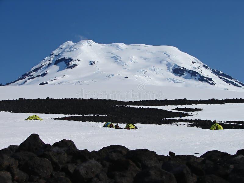 有效的beerenberg最北的s火山世界 图库摄影
