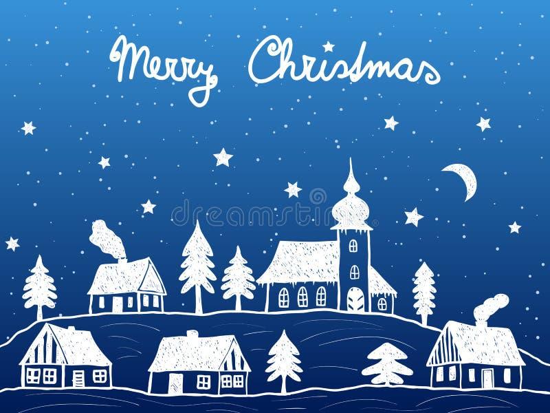 有教会的圣诞节村庄在晚上 库存例证