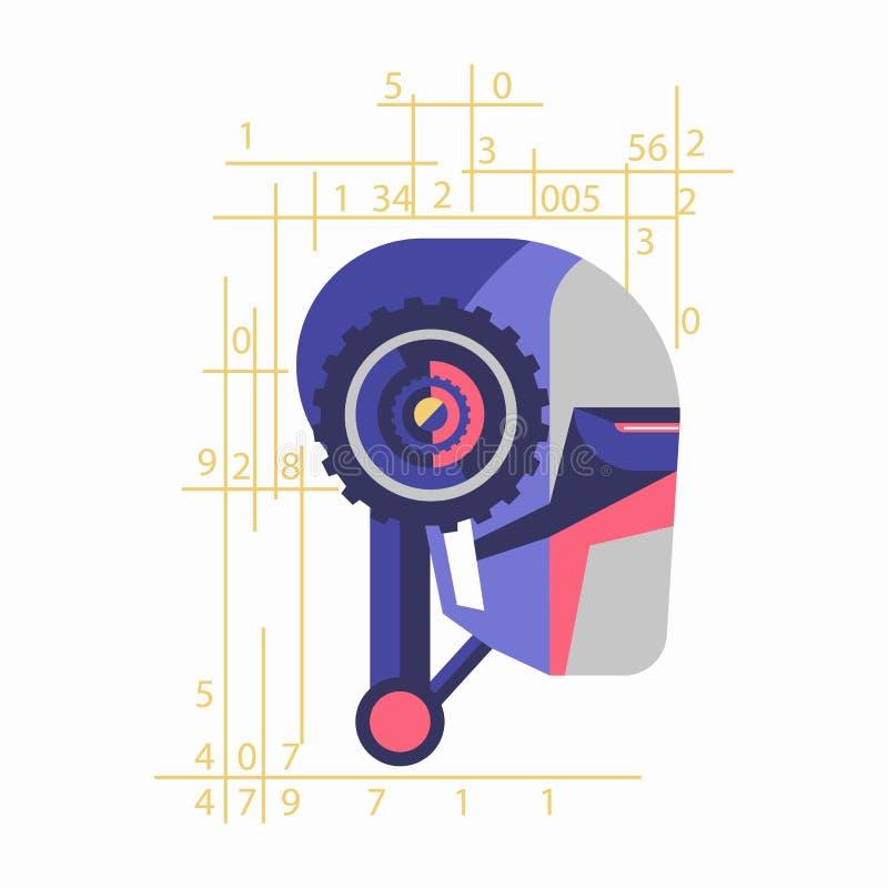 有数字的机器人头 库存例证