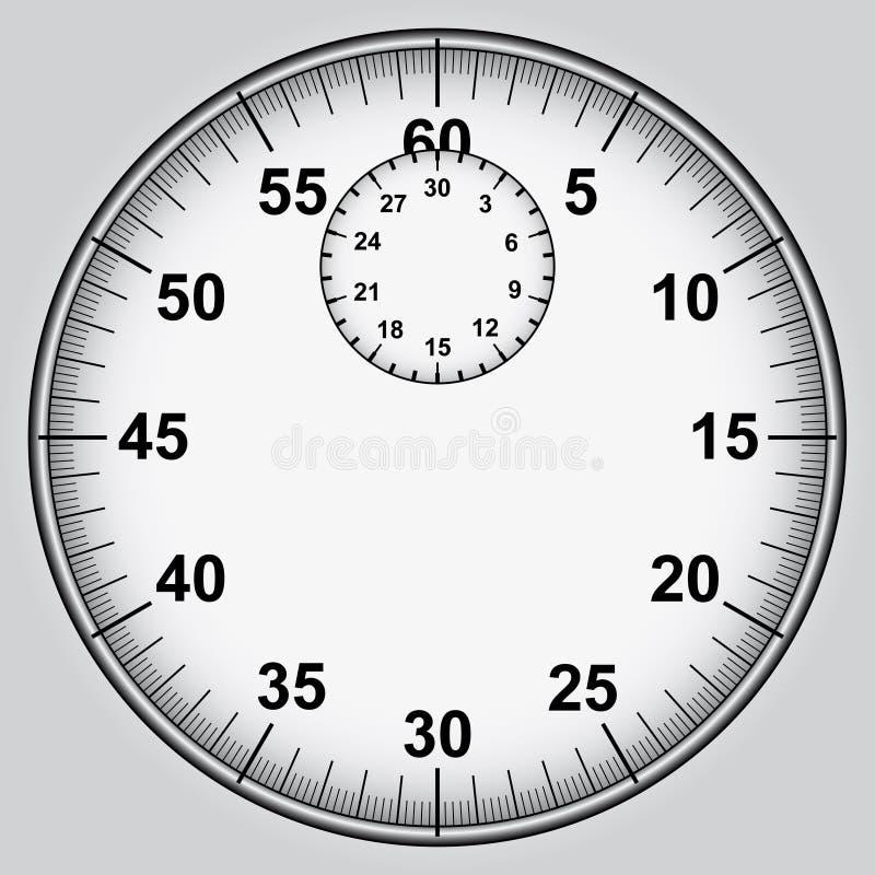 有数字的秒表拨号盘  向量例证