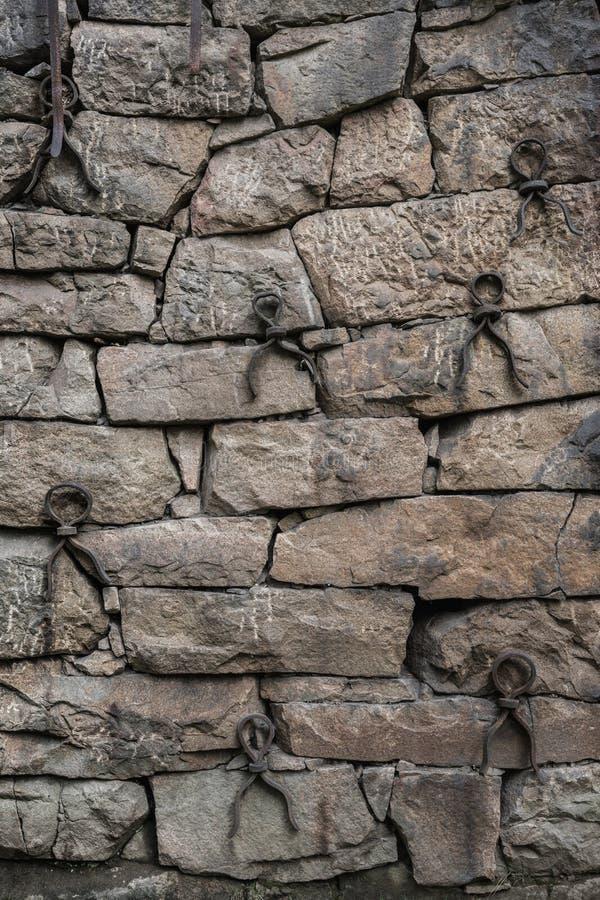 有整洁地适合的石头和铁增强的l老岩石墙壁 免版税库存图片