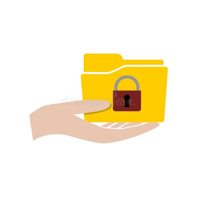 有文件夹的手和挂锁象或者商标 向量例证