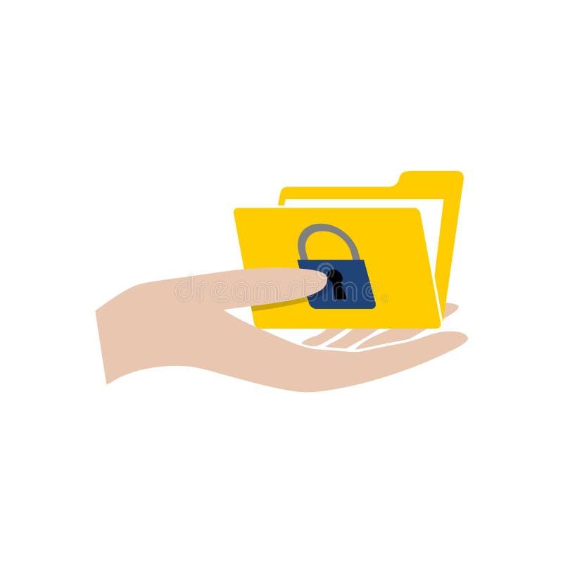 有文件夹的手和挂锁象或者商标 库存例证