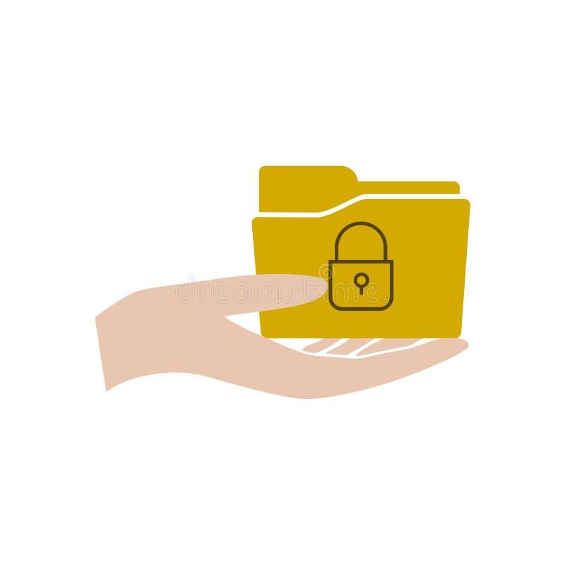 有文件夹的手和挂锁象或者商标 皇族释放例证