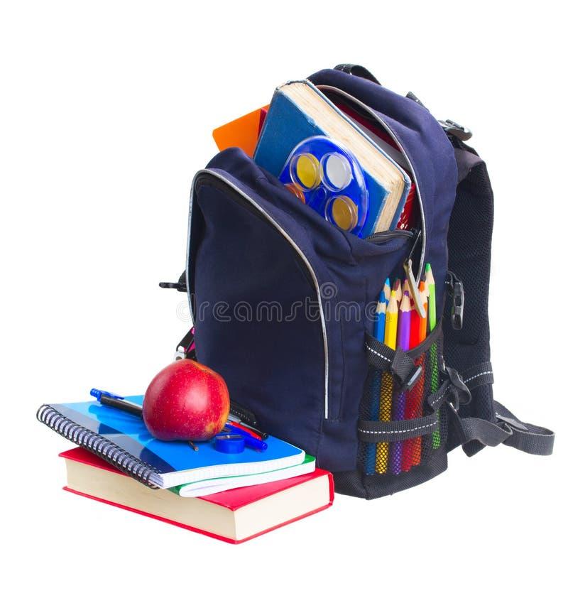 有文具的学校背包 库存图片