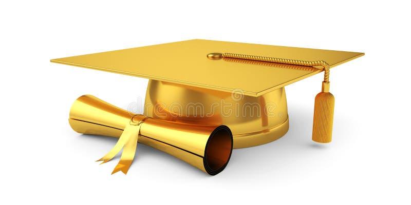 有文凭的金黄毕业盖帽 向量例证