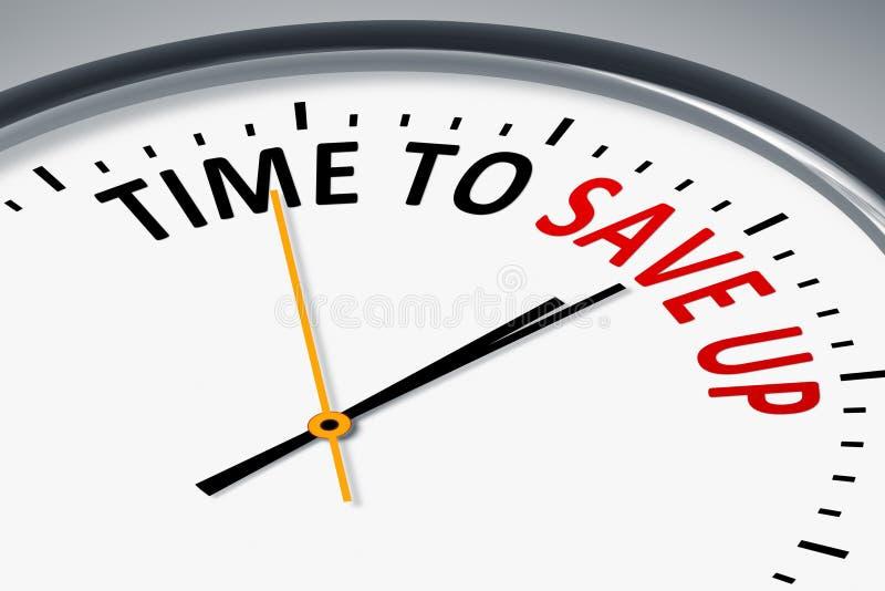 有文本时间的时钟保存  库存例证