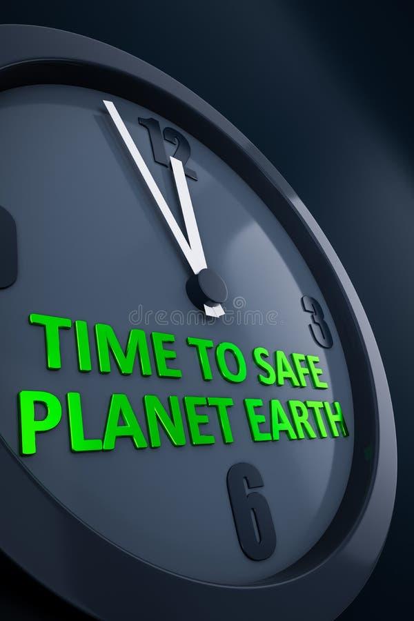 有文本时间的时钟对安全行星地球 向量例证