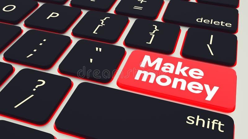 有文本的按钮做金钱膝上型计算机键盘 3d例证 向量例证
