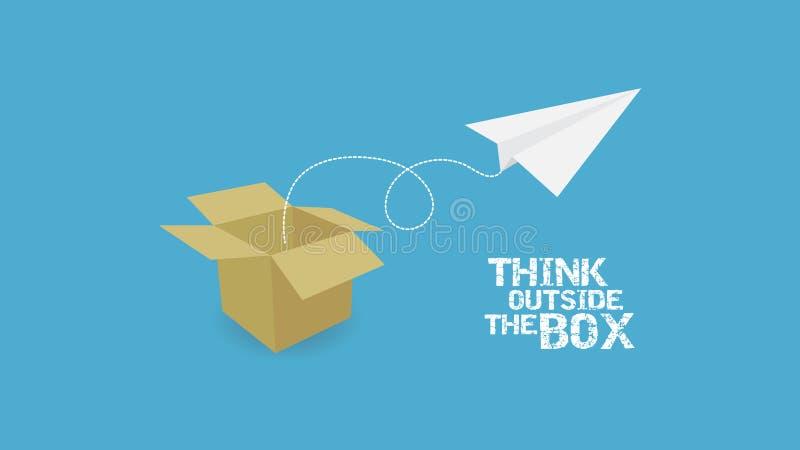 有文本的纸飞机和纸箱 库存例证