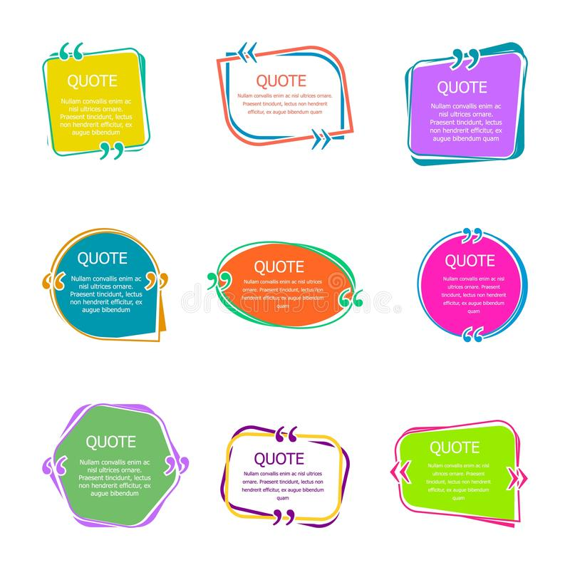 有文本的行情箱子 设置颜色引述泡影模板 起泡更多我的投资组合集演讲 在创造性的泡影传染媒介的引证隔绝了 向量例证