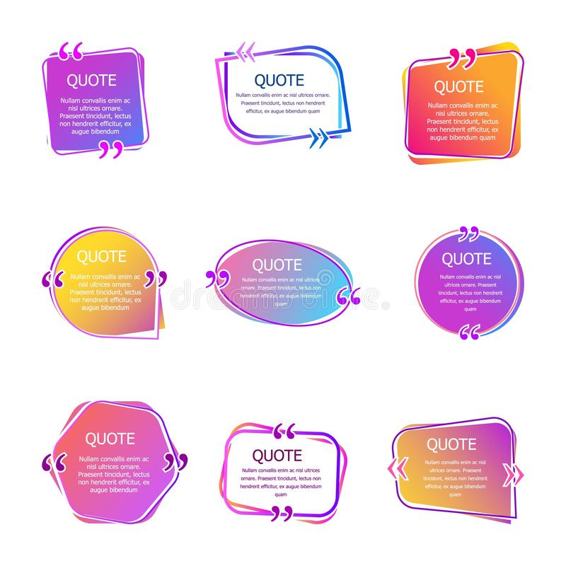 有文本的行情箱子 设置颜色引述泡影模板 起泡更多我的投资组合集演讲 在创造性的泡影传染媒介的引证隔绝了 库存例证