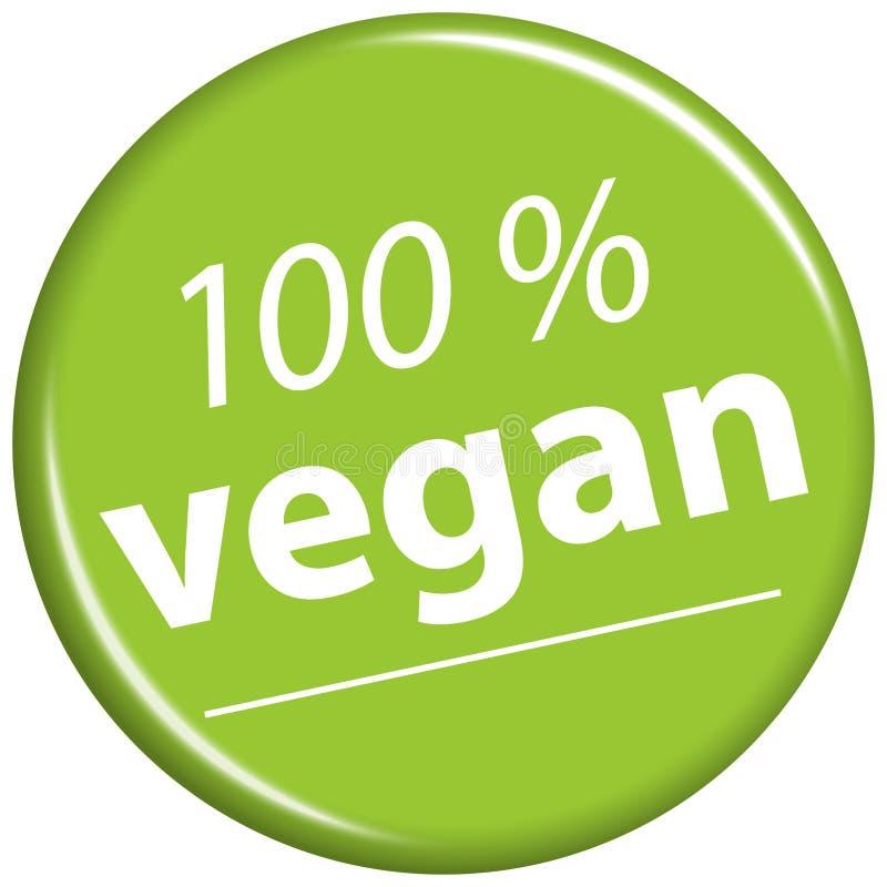 有文本100%素食主义者的绿色磁铁 库存例证