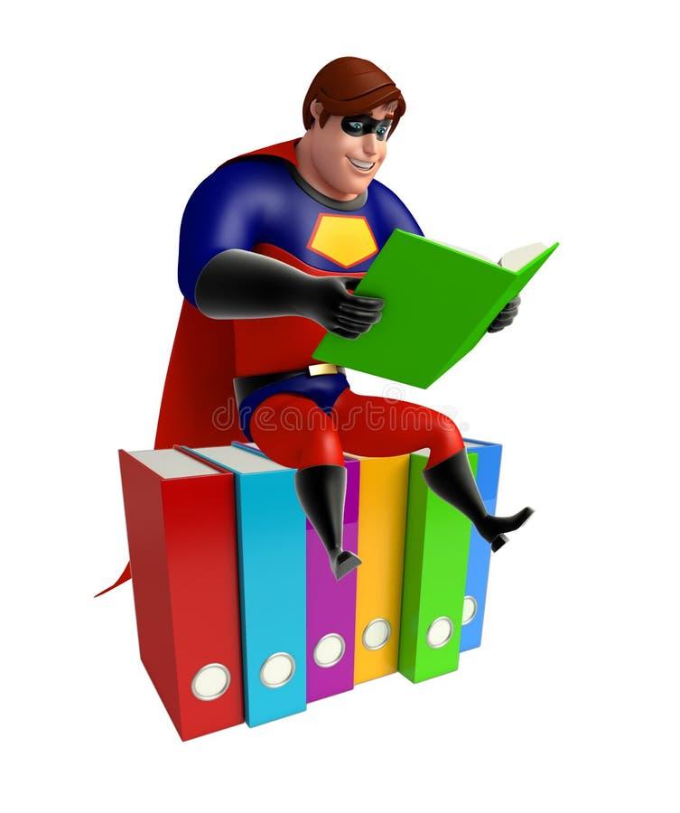 有文件&书的超级英雄 皇族释放例证