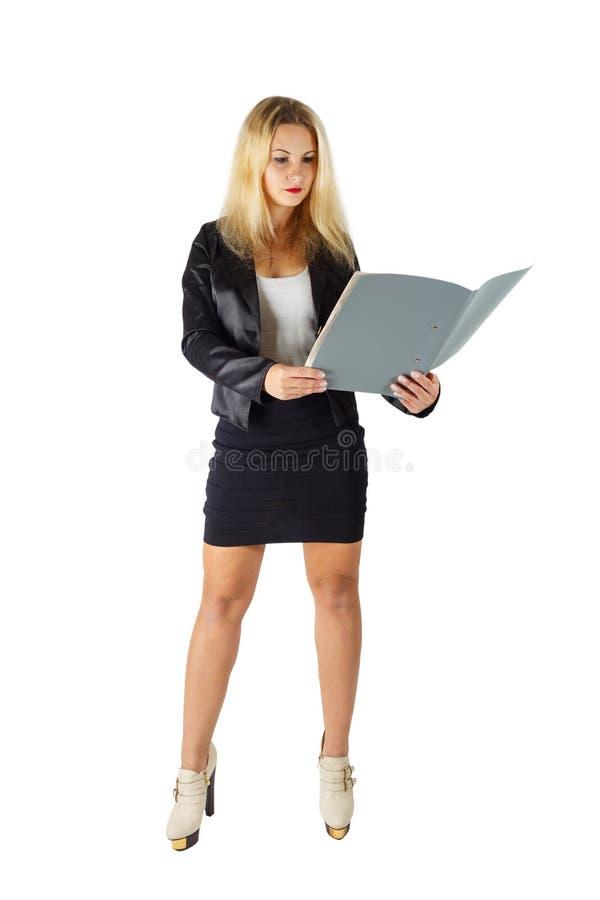 有文件夹的女商人 库存图片