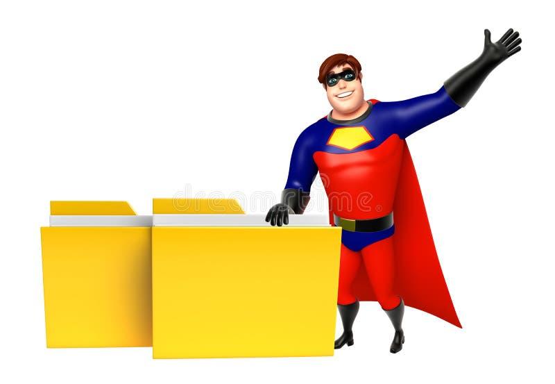 有文件夹的超级英雄 向量例证