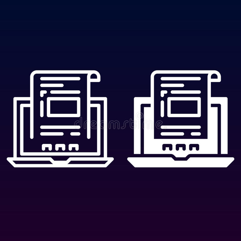 有文件的膝上型计算机、在白色和坚实象、概述和被填装的传染媒介标志,线性和充分的图表隔绝的发货票线 向量例证