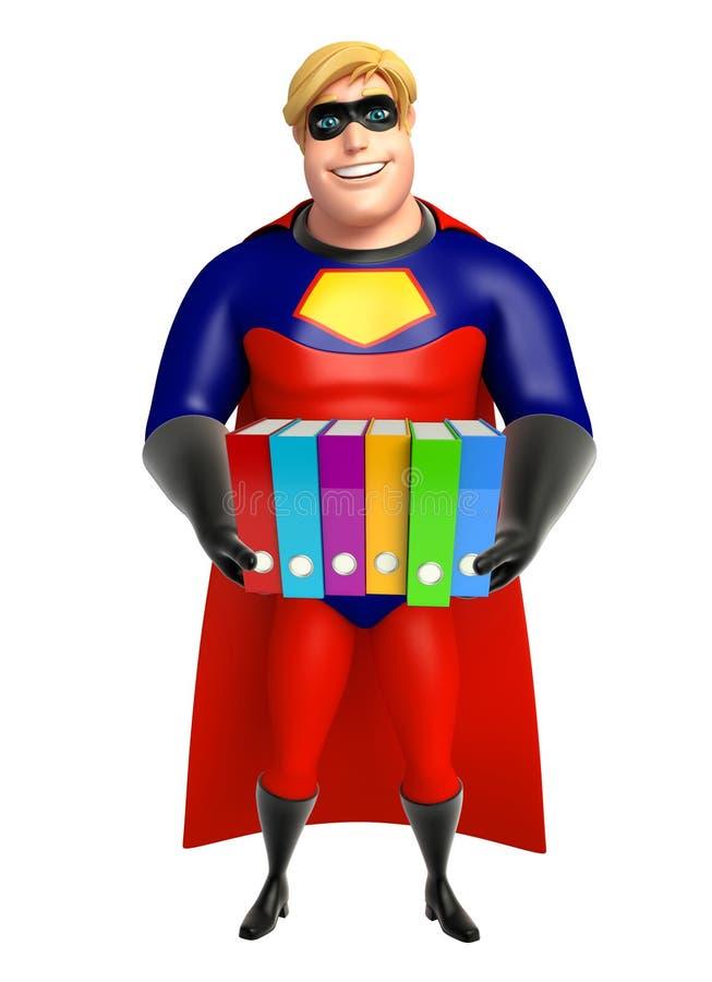 有文件的超级英雄 向量例证