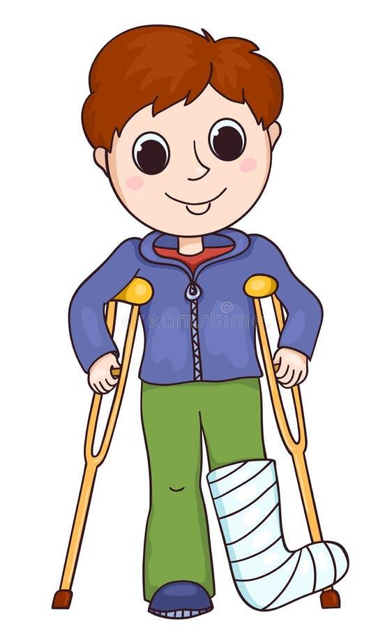 有断腿的逗人喜爱的男孩 向量例证