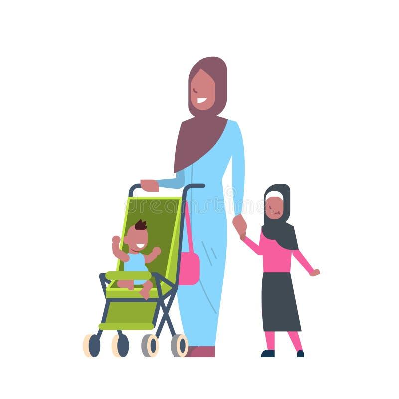 有新出生的小孩子的阿拉伯母亲白色背景的,成功的家庭观念婴儿推车全长具体化的 向量例证