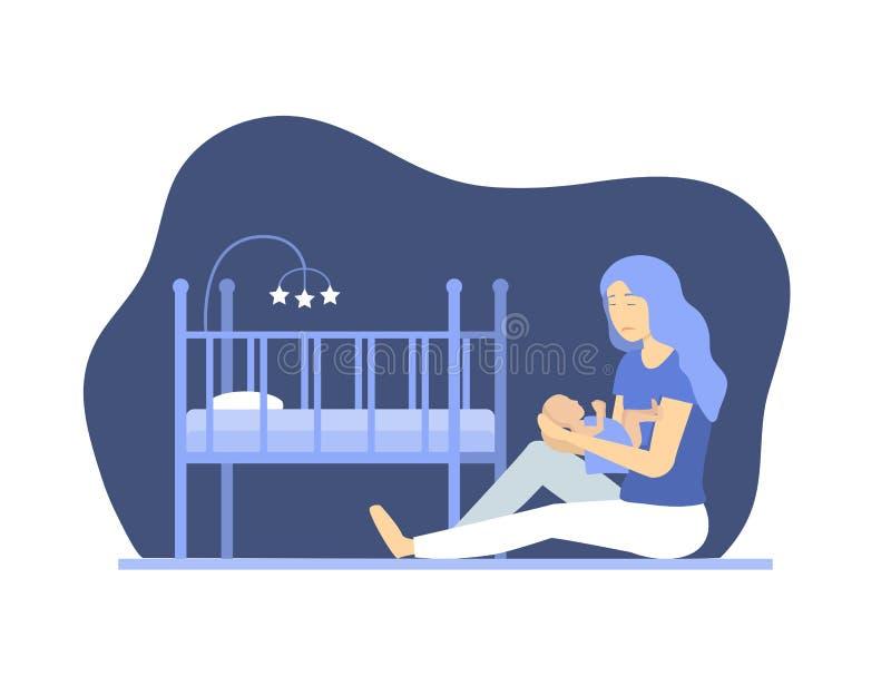 有新出生的概念字符人民的动画片沮丧的妇女 ?? 向量例证