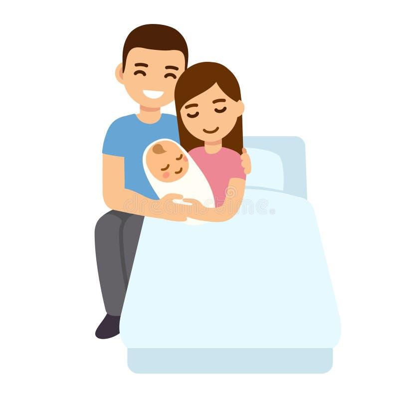 有新出生的父母在医院病床上 向量例证